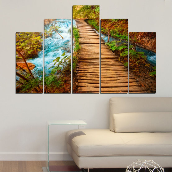 Canvas prints & wall decorative panels - 5 pieces №0359 » Green, Orange, Brown, Black » Nature, Landscape, Water, Forest, Tree, Bridge Form #5