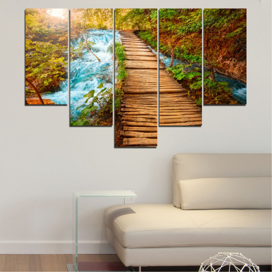 Canvas prints & wall decorative panels - 5 pieces №0359 » Green, Orange, Brown, Black » Nature, Landscape, Water, Forest, Tree, Bridge Form #6