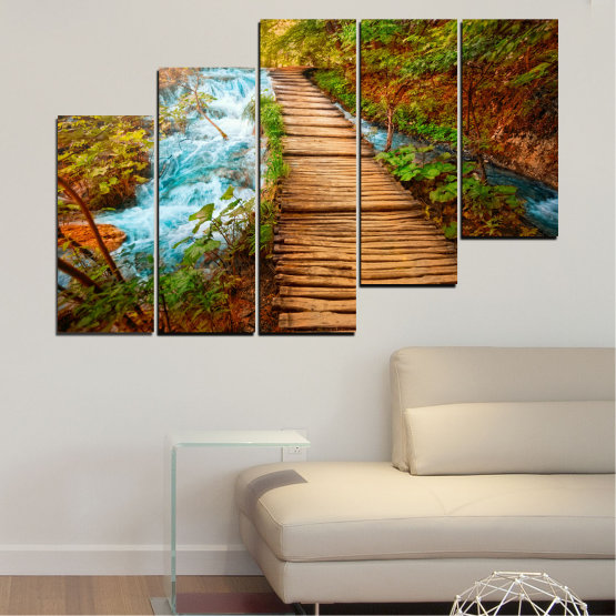 Canvas prints & wall decorative panels - 5 pieces №0359 » Green, Orange, Brown, Black » Nature, Landscape, Water, Forest, Tree, Bridge Form #8