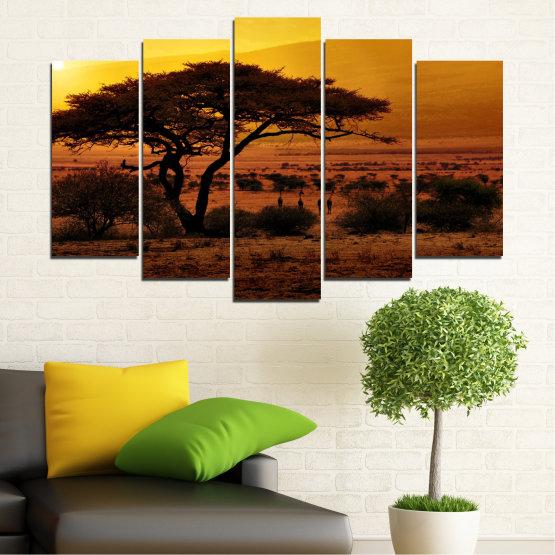 Декоративни панели и картини от канава - от 5 части №0036 » Жълт, Оранжев, Кафяв, Черен » Залез, Дърво, Африка Form #1