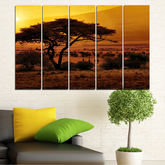 Canvas prints & wall decorative panels - 5 pieces №0036 » Yellow, Orange, Brown, Black » Sunset, Tree, Africa Form #2