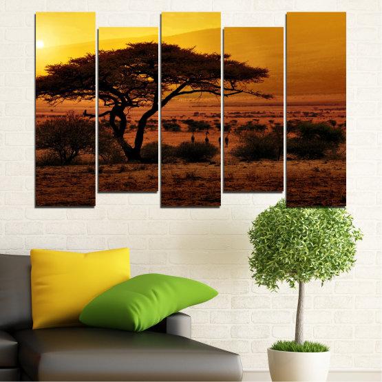 Декоративни панели и картини от канава - от 5 части №0036 » Жълт, Оранжев, Кафяв, Черен » Залез, Дърво, Африка Form #3