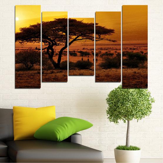 Декоративни панели и картини от канава - от 5 части №0036 » Жълт, Оранжев, Кафяв, Черен » Залез, Дърво, Африка Form #4