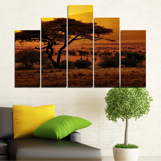 Canvas prints & wall decorative panels - 5 pieces №0036 » Yellow, Orange, Brown, Black » Tree, Sunset, Africa Form #5