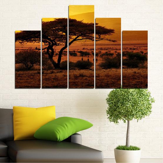 Декоративни панели и картини от канава - от 5 части №0036 » Жълт, Оранжев, Кафяв, Черен » Залез, Дърво, Африка Form #5