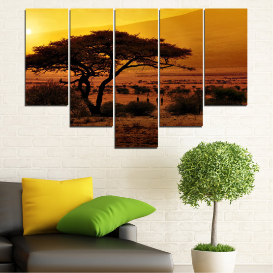 Canvas prints & wall decorative panels - 5 pieces №0036 » Yellow, Orange, Brown, Black » Tree, Sunset, Africa Form #6