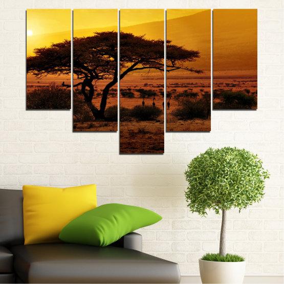 Декоративни панели и картини от канава - от 5 части №0036 » Жълт, Оранжев, Кафяв, Черен » Залез, Дърво, Африка Form #6