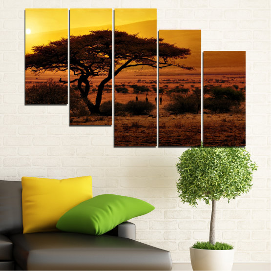 Canvas prints & wall decorative panels - 5 pieces №0036 » Yellow, Orange, Brown, Black » Tree, Sunset, Africa Form #7