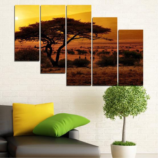 Декоративни панели и картини от канава - от 5 части №0036 » Жълт, Оранжев, Кафяв, Черен » Залез, Дърво, Африка Form #7