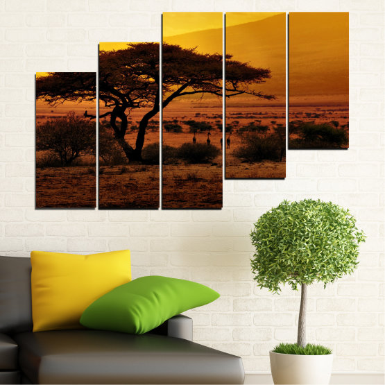 Canvas prints & wall decorative panels - 5 pieces №0036 » Yellow, Orange, Brown, Black » Sunset, Tree, Africa Form #8