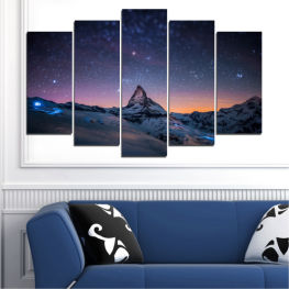 Landscape, Nature, Mountain, Sky, Night, Star, Snow » Purple, Blue, Black, Gray, Dark grey