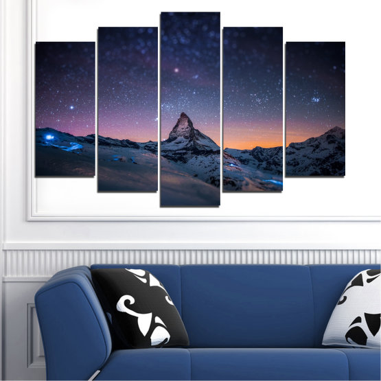 Canvas prints & wall decorative panels - 5 pieces №0361 » Purple, Blue, Black, Gray, Dark grey » Nature, Landscape, Mountain, Sky, Star, Night, Snow Form #1