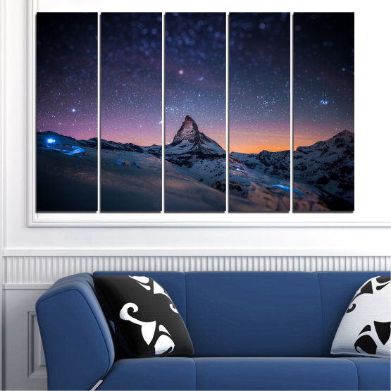 Canvas prints & wall decorative panels - 5 pieces №0361 » Purple, Blue, Black, Gray, Dark grey » Nature, Landscape, Mountain, Sky, Star, Night, Snow Form #2