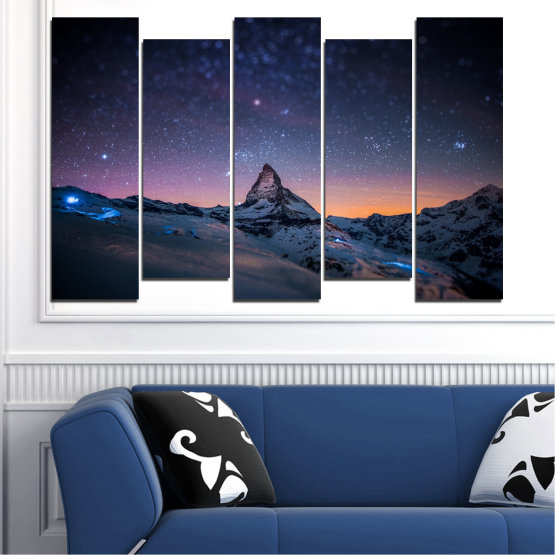Canvas prints & wall decorative panels - 5 pieces №0361 » Purple, Blue, Black, Gray, Dark grey » Nature, Landscape, Mountain, Sky, Star, Night, Snow Form #3