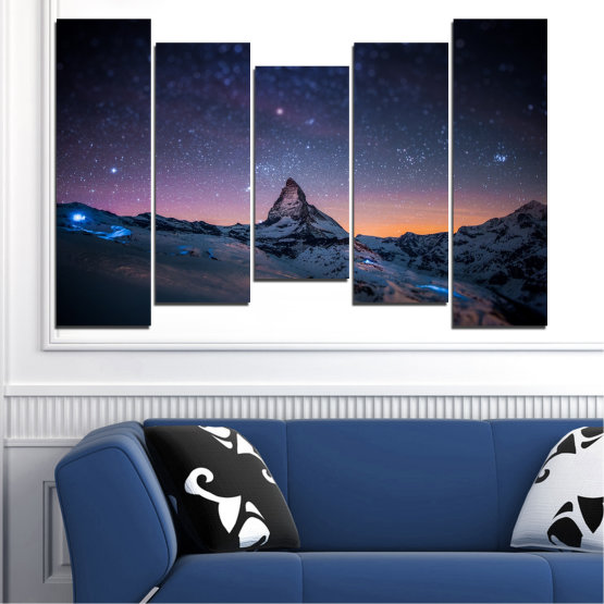 Canvas prints & wall decorative panels - 5 pieces №0361 » Purple, Blue, Black, Gray, Dark grey » Nature, Landscape, Mountain, Sky, Star, Night, Snow Form #4