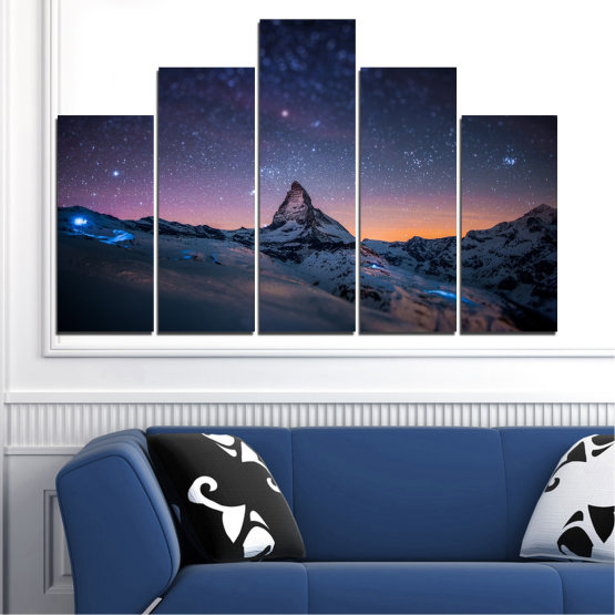 Canvas prints & wall decorative panels - 5 pieces №0361 » Purple, Blue, Black, Gray, Dark grey » Nature, Landscape, Mountain, Sky, Star, Night, Snow Form #5