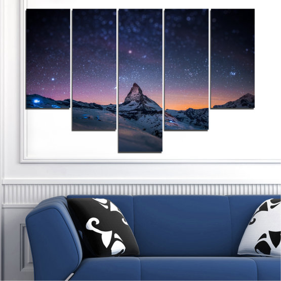 Canvas prints & wall decorative panels - 5 pieces №0361 » Purple, Blue, Black, Gray, Dark grey » Nature, Landscape, Mountain, Sky, Star, Night, Snow Form #6