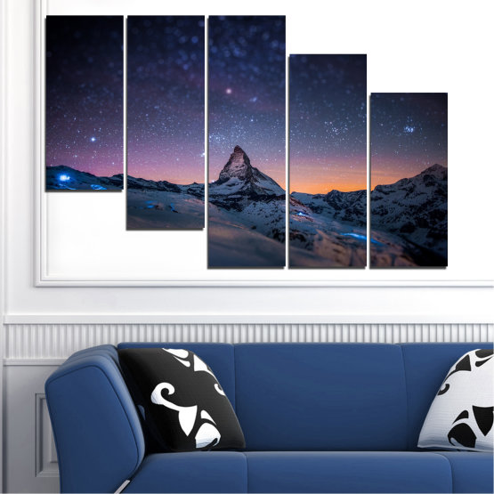 Canvas prints & wall decorative panels - 5 pieces №0361 » Purple, Blue, Black, Gray, Dark grey » Nature, Landscape, Mountain, Sky, Star, Night, Snow Form #7