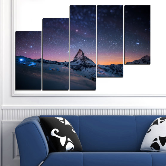 Canvas prints & wall decorative panels - 5 pieces №0361 » Purple, Blue, Black, Gray, Dark grey » Nature, Landscape, Mountain, Sky, Star, Night, Snow Form #8