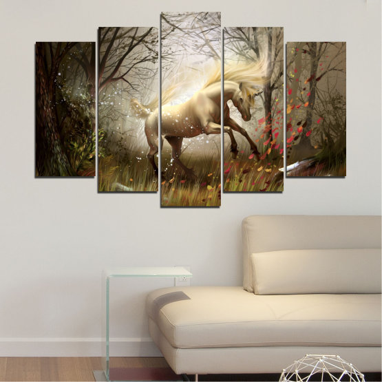 Canvas prints & wall decorative panels - 5 pieces №0362 » Brown, Black, Gray, Dark grey » Nature, Animal, Drawing, Unicorn Form #1