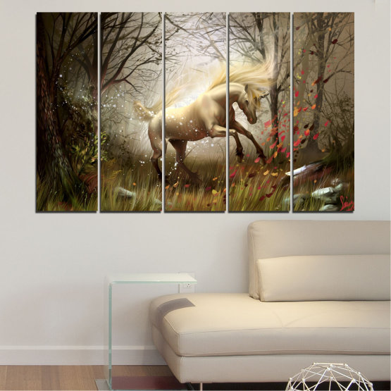 Canvas prints & wall decorative panels - 5 pieces №0362 » Brown, Black, Gray, Dark grey » Nature, Animal, Drawing, Unicorn Form #2