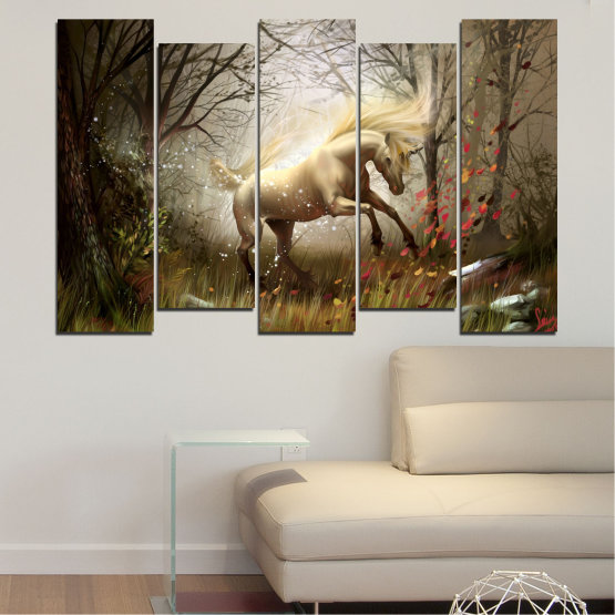 Canvas prints & wall decorative panels - 5 pieces №0362 » Brown, Black, Gray, Dark grey » Animal, Nature, Drawing, Unicorn Form #3