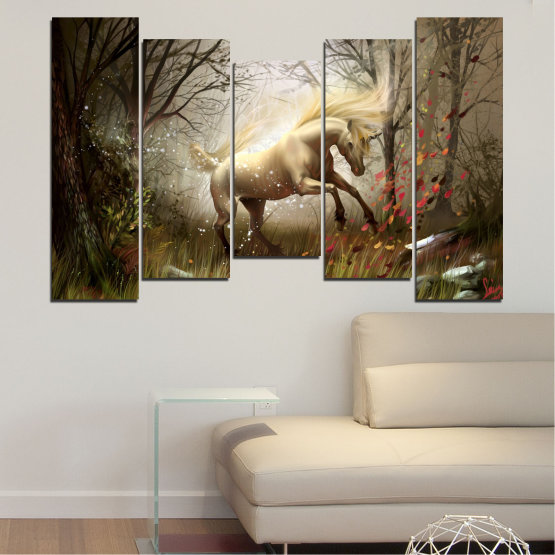 Canvas prints & wall decorative panels - 5 pieces №0362 » Brown, Black, Gray, Dark grey » Animal, Nature, Drawing, Unicorn Form #4