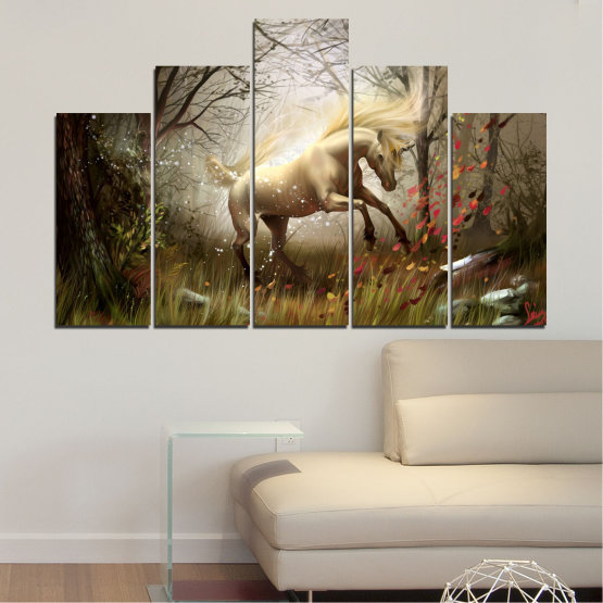 Canvas prints & wall decorative panels - 5 pieces №0362 » Brown, Black, Gray, Dark grey » Animal, Nature, Drawing, Unicorn Form #5