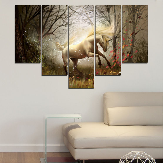Canvas prints & wall decorative panels - 5 pieces №0362 » Brown, Black, Gray, Dark grey » Animal, Nature, Drawing, Unicorn Form #6