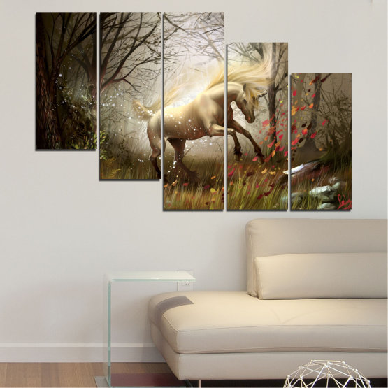 Canvas prints & wall decorative panels - 5 pieces №0362 » Brown, Black, Gray, Dark grey » Nature, Animal, Drawing, Unicorn Form #7