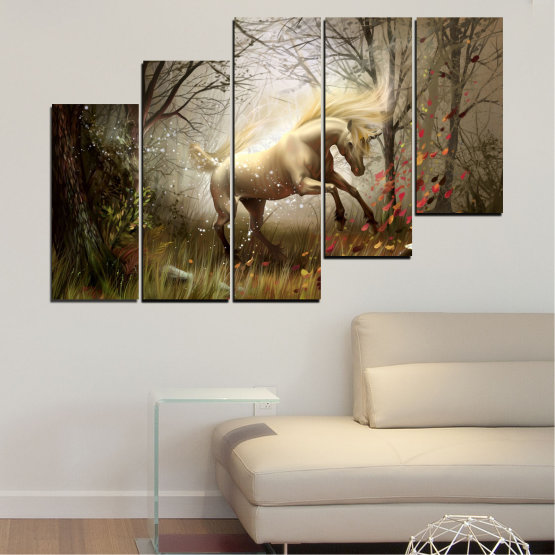 Canvas prints & wall decorative panels - 5 pieces №0362 » Brown, Black, Gray, Dark grey » Animal, Nature, Drawing, Unicorn Form #8