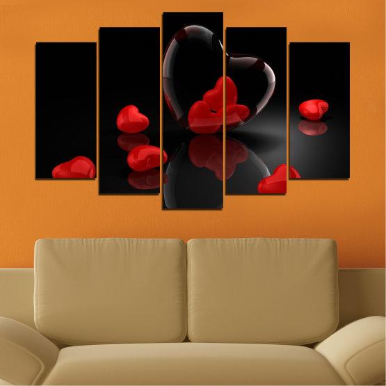 Декоративни панели и картини от канава - от 5 части №0363 » Червен, Черен, Тъмно сив » Колаж, Отражение, Сърце Form #1