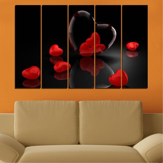 Декоративни панели и картини от канава - от 5 части №0363 » Червен, Черен, Тъмно сив » Колаж, Отражение, Сърце Form #2