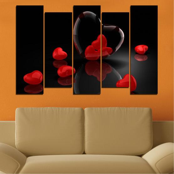 Декоративни панели и картини от канава - от 5 части №0363 » Червен, Черен, Тъмно сив » Колаж, Отражение, Сърце Form #3