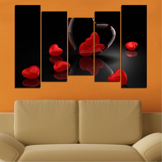Декоративни панели и картини от канава - от 5 части №0363 » Червен, Черен, Тъмно сив » Колаж, Отражение, Сърце Form #4