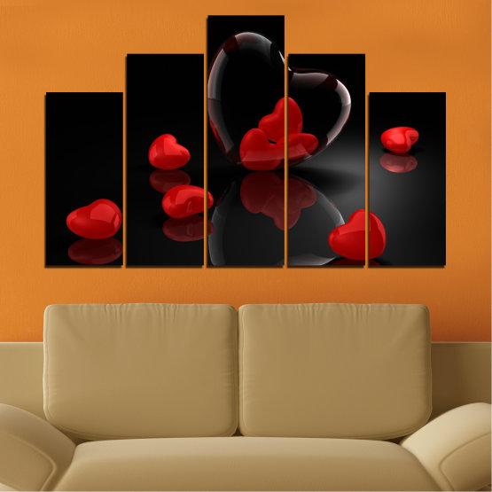 Декоративни панели и картини от канава - от 5 части №0363 » Червен, Черен, Тъмно сив » Колаж, Отражение, Сърце Form #5