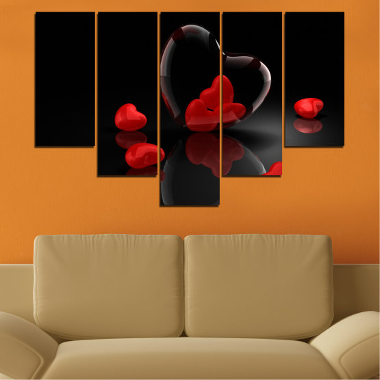 Декоративни панели и картини от канава - от 5 части №0363 » Червен, Черен, Тъмно сив » Колаж, Отражение, Сърце Form #6