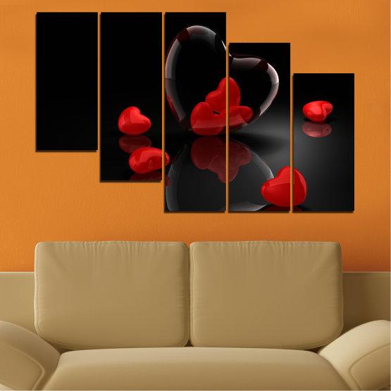 Декоративни панели и картини от канава - от 5 части №0363 » Червен, Черен, Тъмно сив » Колаж, Отражение, Сърце Form #7