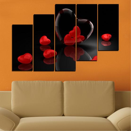 Декоративни панели и картини от канава - от 5 части №0363 » Червен, Черен, Тъмно сив » Колаж, Отражение, Сърце Form #8