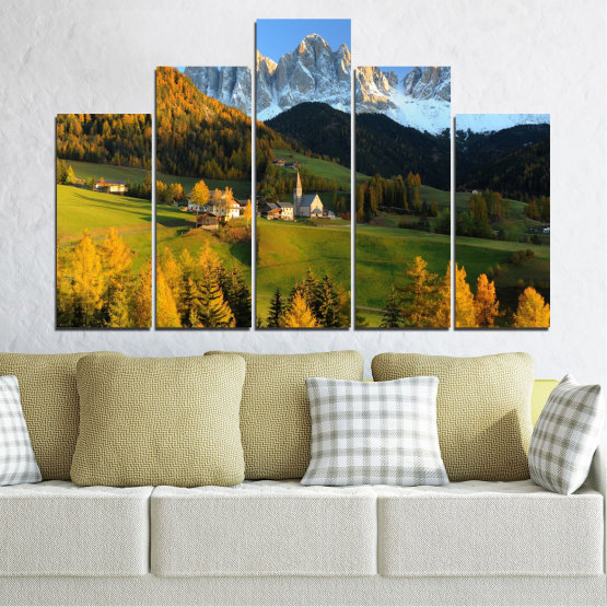 Canvas prints & wall decorative panels - 5 pieces №0364 » Turquoise, Green, Brown, Black, Dark grey » Landscape, Nature, Forest, Mountain, House Form #5