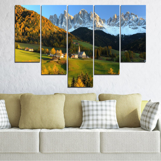 Canvas prints & wall decorative panels - 5 pieces №0364 » Turquoise, Green, Brown, Black, Dark grey » Landscape, Nature, Forest, Mountain, House Form #6