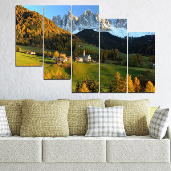 Canvas prints & wall decorative panels - 5 pieces №0364 » Turquoise, Green, Brown, Black, Dark grey » Landscape, Nature, Forest, Mountain, House Form #7