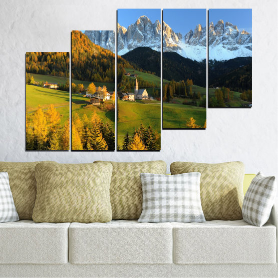 Canvas prints & wall decorative panels - 5 pieces №0364 » Turquoise, Green, Brown, Black, Dark grey » Landscape, Nature, Forest, Mountain, House Form #8