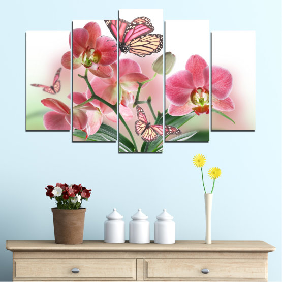 Canvas prints & wall decorative panels - 5 pieces №0365 » Pink, Gray, White, Beige, Milky pink » Flowers, Orchid, Butterfly Form #1