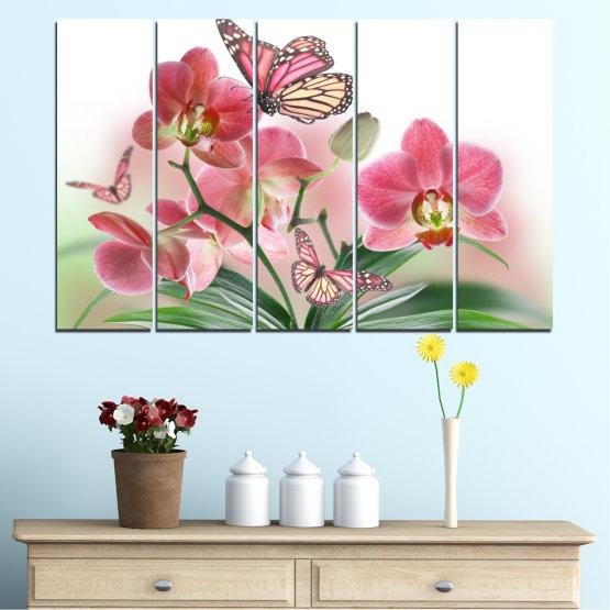 Декоративни панели и картини от канава - от 5 части №0365 » Розов, Сив, Бял, Бежов, Млечно розов » Цветя, Орхидея, Пеперуда Form #2