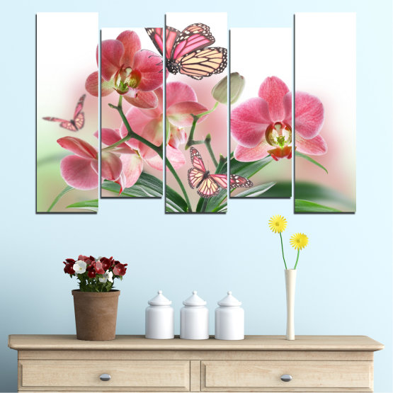 Canvas prints & wall decorative panels - 5 pieces №0365 » Pink, Gray, White, Beige, Milky pink » Flowers, Orchid, Butterfly Form #3