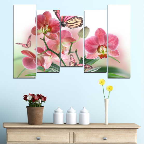 Canvas prints & wall decorative panels - 5 pieces №0365 » Pink, Gray, White, Beige, Milky pink » Flowers, Orchid, Butterfly Form #4