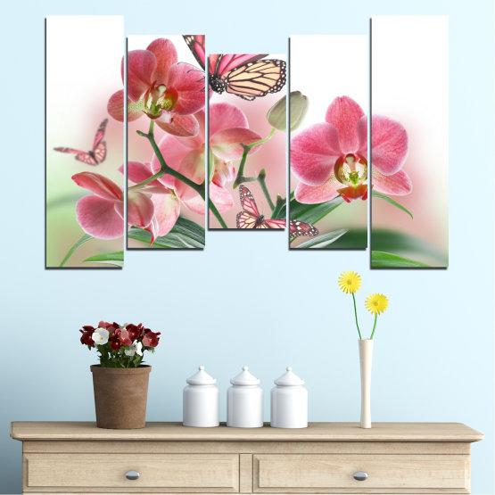 Декоративни панели и картини от канава - от 5 части №0365 » Розов, Сив, Бял, Бежов, Млечно розов » Цветя, Орхидея, Пеперуда Form #4