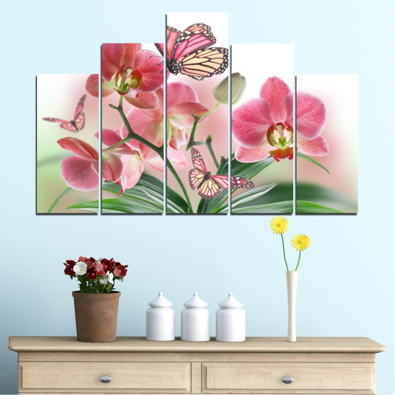 Canvas prints & wall decorative panels - 5 pieces №0365 » Pink, Gray, White, Beige, Milky pink » Flowers, Orchid, Butterfly Form #5