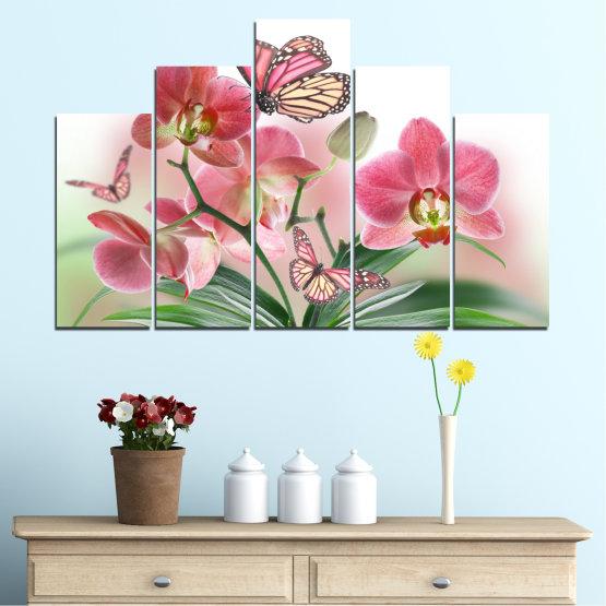 Декоративни панели и картини от канава - от 5 части №0365 » Розов, Сив, Бял, Бежов, Млечно розов » Цветя, Орхидея, Пеперуда Form #5